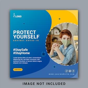 Medische gezondheid sociale media instagram postbannersjabloon over coronavirus of covid-19