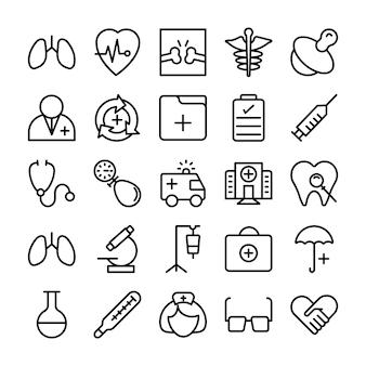 Medische, gezondheids- en ziekenhuislijnpictogrammen