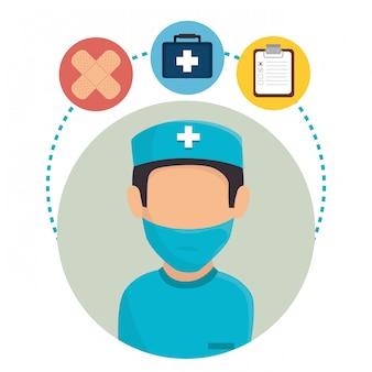 Medische gezondheidszorg karakter en pictogrammen
