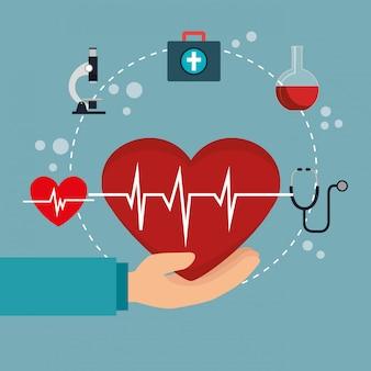 Medische gezondheidszorg met vastgestelde pictogrammen