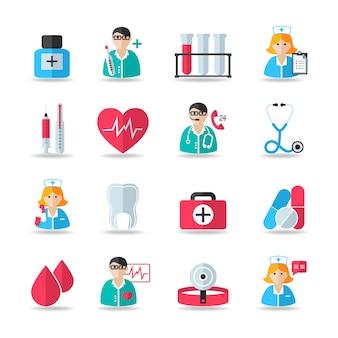 Medische gezondheidszorg pictogrammen set van hart tand pil spuit geïsoleerde vector en arts avatars illustratie