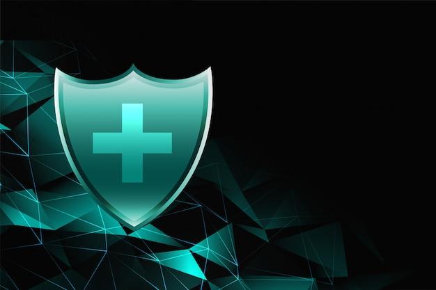 Medische gezondheidszorg schild achtergrond voor bescherming tegen virussen en ziektekiemen