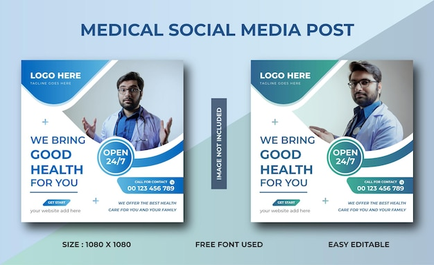 Medische gezondheidszorg social media post digitale marketingbannerontwerp
