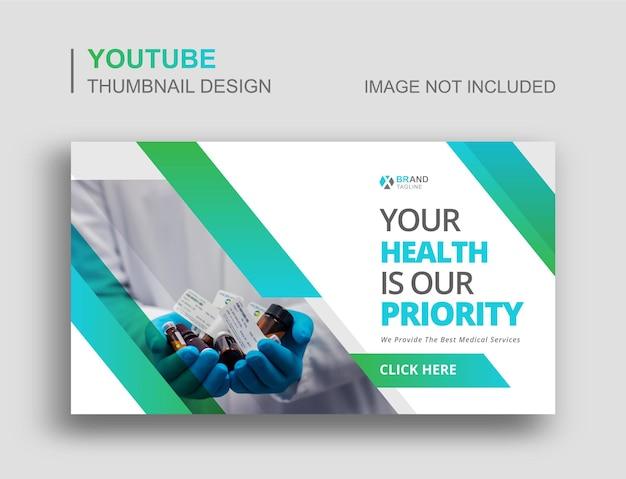 Medische gezondheidszorg youtube-miniatuurontwerp en webbanner