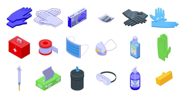 Medische handschoenen pictogrammen instellen. isometrische set van medische handschoenen iconen voor web