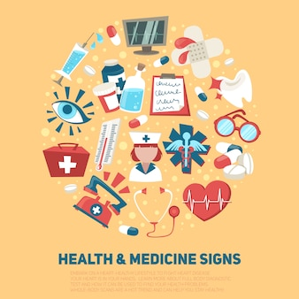 Medische het ziekenhuis en ziekenwagen ondertekent de vectorillustratie van het de gezondheidszorgconcept van de samenstelling