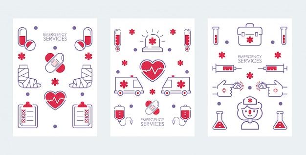 Medische hulp bij noodgevallen banner set van pictogrammen voor ziekenhuis, gezondheidscentrum