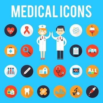 Medische hulpmiddelen en medisch personeel plat pictogrammen. geneeskunde en ziekenhuis, medische gezondheid, spuit en apotheek, uitrusting en noodgevallen.