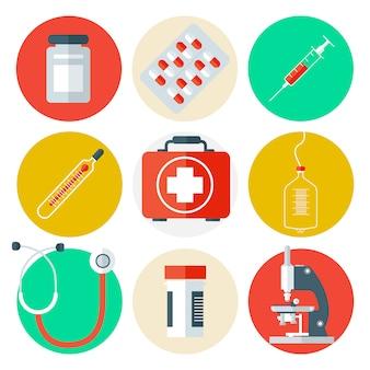 Medische hulpmiddelen icons set. medische achtergrond met gezondheidszorgspullen.