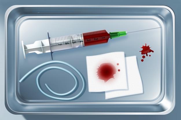 Medische hulpmiddeleninzameling met instrumenten na bloed die de illustratie van de metaalsterilisator opnemen