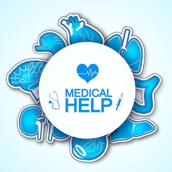 Medische hulpposter met veel afbeeldingen van menselijke organen, waaronder het hart