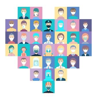 Medische hulpverleners, politie, bezorgers, verkopers, mensen in harten met kleurrijke vierkanten. bedankt voor de strijd covid-19. avatar-doktoren, politieagenten, koeriers, verkopers, apothekers, reddingswerkers.