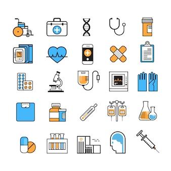 Medische icon set dunne lijn geneeskunde apparatuur teken op witte achtergrond ziekenhuis behandeling concept