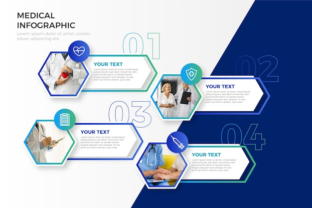 Medische infographic met foto Premium Vector