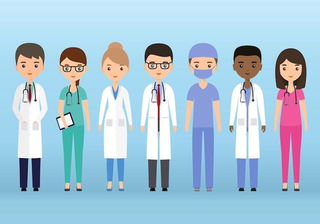 Medische karakters platte mensen. artsen en verpleegkundigen staan samen. geneeskunde concept.