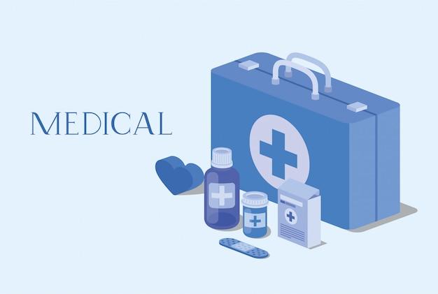 Medische kit met geneeskunde pictogrammen