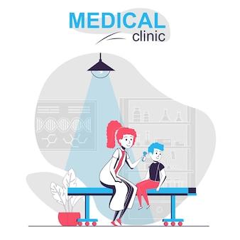 Medische kliniek geïsoleerd cartoon concept jongen bij kinderarts afspraak dokter kantoor