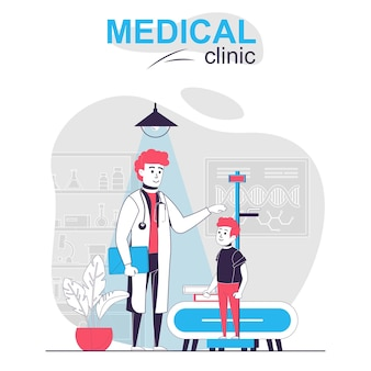 Medische kliniek geïsoleerd cartoon concept kinderarts maatregelen jongen hoogte onderzoekt patiënt