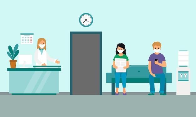 Medische kliniek receptie of wachtkamer interieur in blauwe kleuren.