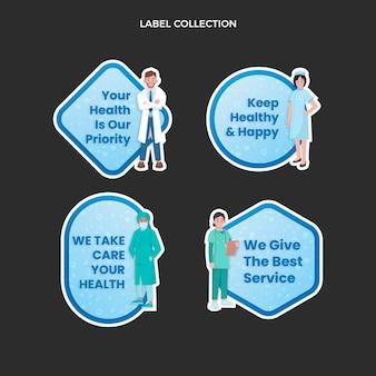 Medische labelcollectie met plat ontwerp