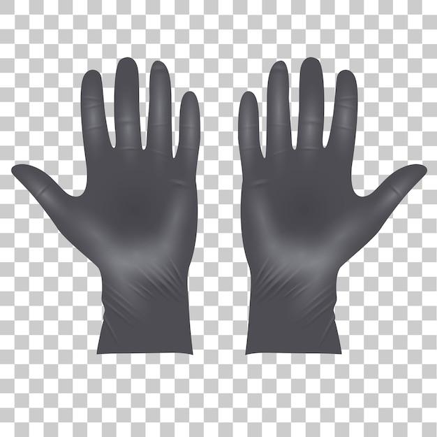 Medische latex beschermende handschoenen, realistische zwarte handschoenen op transparant
