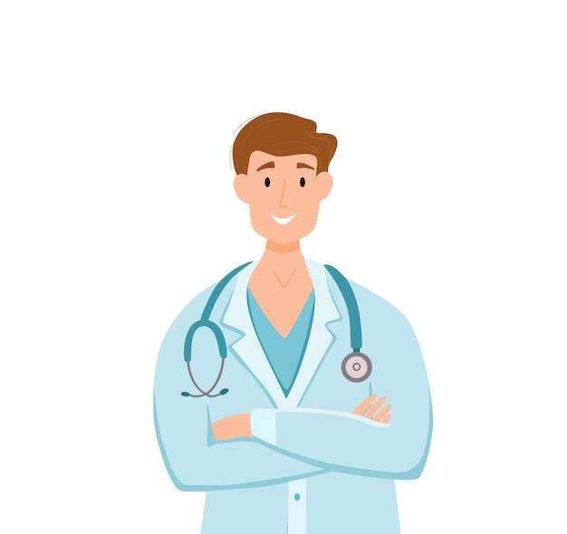Medische mannen in gezichtsbescherming masker stripfiguren vectorillustratie. dokter professionele man voor de bestrijding van het coronavirus. stop het covid-19 zorgconcept met ziekenhuismedewerker.