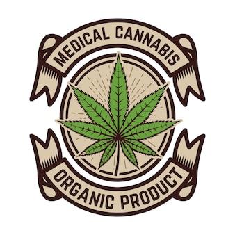 Medische marihuana. embleemmalplaatje met cannabisblad. ontwerpelement voor logo, etiket, embleem, teken.