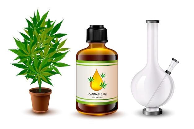 Medische marihuana-objecten instellen. realistische bong, wietblad, rokende joint en olie. realistische illustratie.