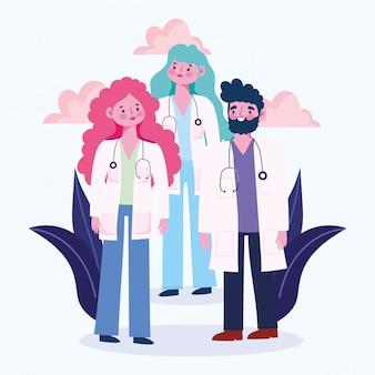 Medische mensen groeperen arts beroep beroep tekens met jas en stethoscoop