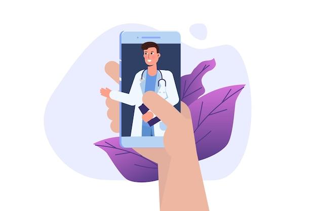 Medische online conferentie, doctor distant online consultatieconcept. platte vectorillustratie