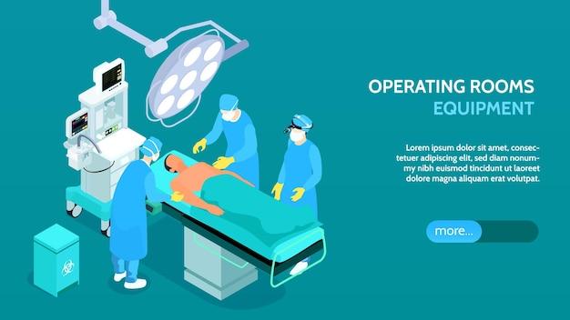 Medische operatiekamer apparatuur isometrische banner
