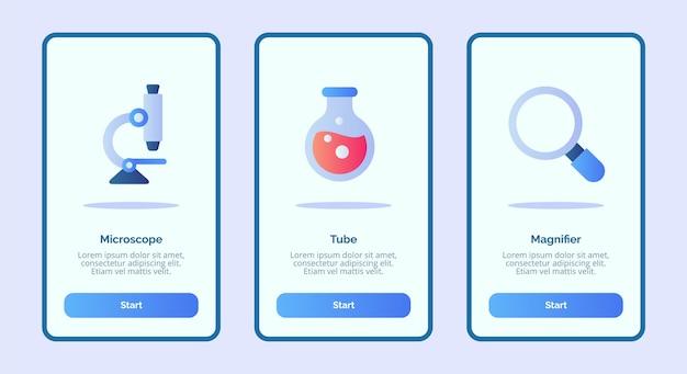 Medische pictogram microscoop buis vergrootglas voor mobiele apps sjabloon banner pagina ui