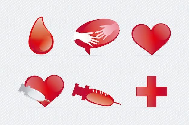 Medische pictogrammen over witte vectorillustratie als achtergrond