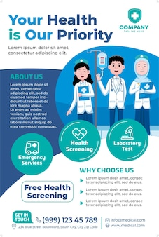 Medische posterpromotie in platte ontwerpstijl