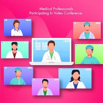Medische professional die deelneemt aan videoconferenties per laptop met meerdere schermen van artsen en verpleegkundigen.