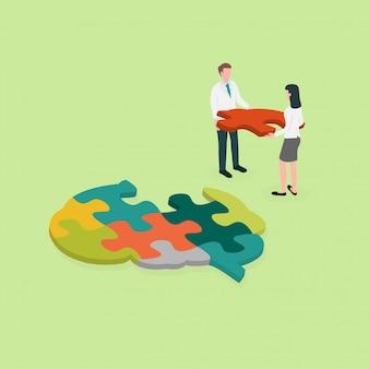 Medische professional leg een puzzel in de hersenen. concept voor cognitieve revalidatie in al