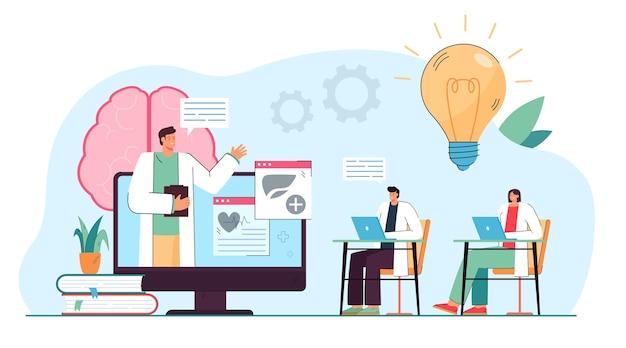 Medische professionals kijken naar webinar op online platform. mensen met virtuele klasse vlakke afbeelding
