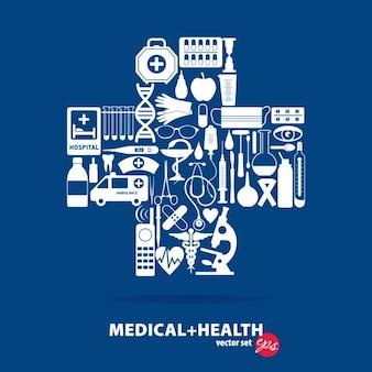 Medische set cross illustratie