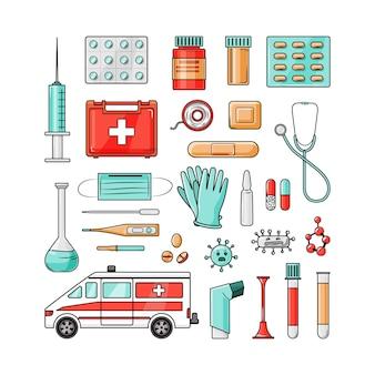 Medische set op een witte achtergrond.