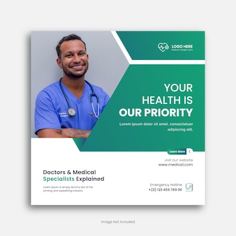 Medische sociale media postsjabloon voor medische zorg en sociale media postsjabloon premium in het ziekenhuis