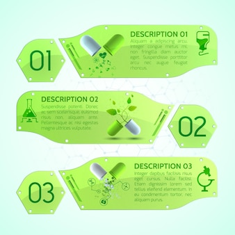 Medische spandoeken met medicinale capsules, bijsluiter en verschillende medische voorwerpen