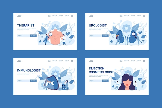 Medische specialiteit en onderzoek webbanner concept set. therapeut en uroloog, immunoloog en injectie-schoonheidsspecialist. ziektediagnose en behandeling.