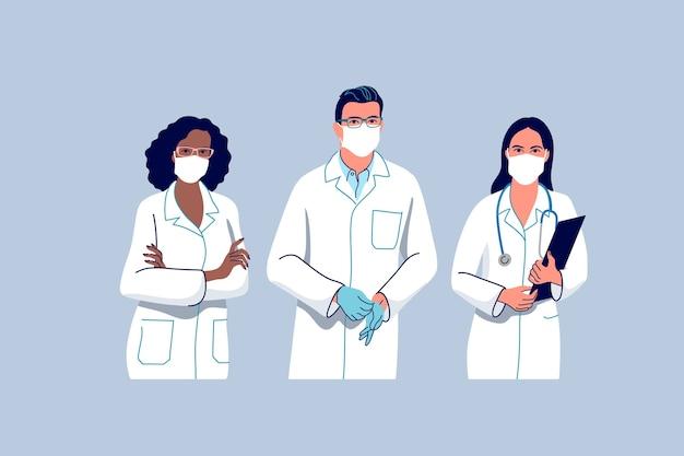 Medische staf. artsen en verpleegsters die een chirurgisch gezichtsmasker dragen.