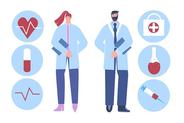 Medische staf. mannelijke dokter. vrouwelijke dokter.