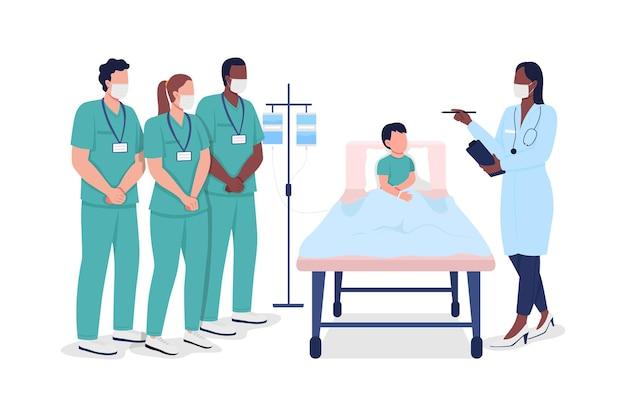 Medische stagiaires tijdens professionele opleiding egale kleur vector gezichtsloze karakters. ziekenhuis behandeling. gezondheidszorgspecialisten geïsoleerde cartoonillustratie voor webgrafisch ontwerp en animatie