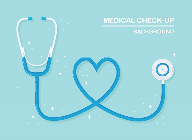 Medische stethoscoop geïsoleerd op de achtergrond. gezondheidszorg, onderzoek naar hartconcept. plat ontwerp