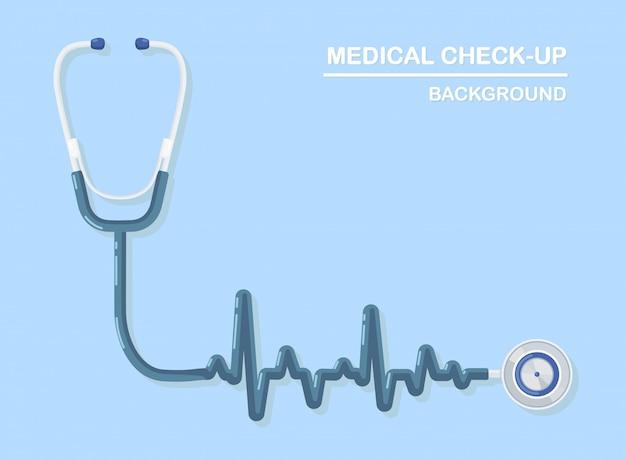 Medische stethoscoop op achtergrond. gezondheidszorg, onderzoek naar hartconcept.