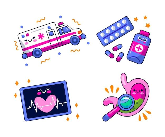 Medische stickers afbeelding ontwerpset
