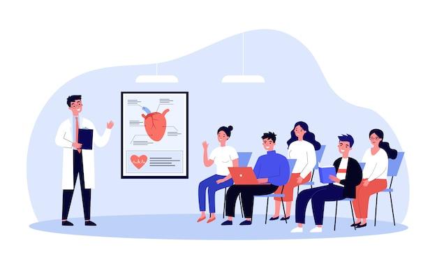 Medische studenten die aan artsenlezing luisteren