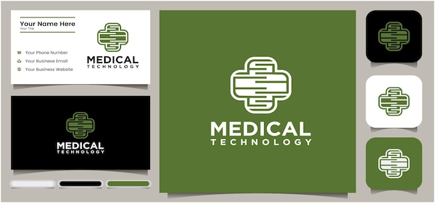 Medische technologie logo technologie kruis pictogram logo ontwerpsjabloon creatief kruis symbool voor medische